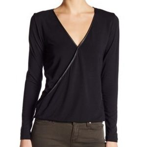 NWOT Tart Charlize Faux Leather Trim Top
